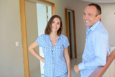 pareja de esposos: couple in house Foto de archivo
