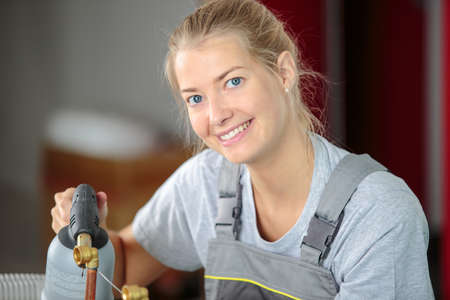 laborer: woman laborer smiling