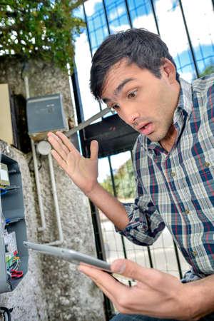 surprised meter reader