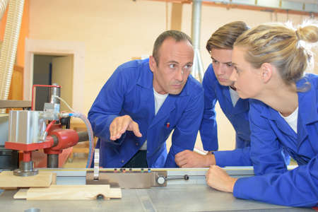 vocational: professor and students in vocational college