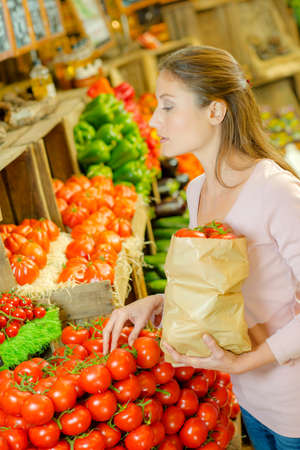 Lady  choosing tomatoes, holding paper bag Stock Photo