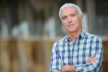 Portrait of man, blurred background Stock Photo