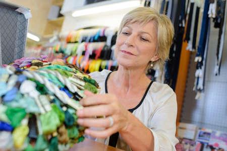 haberdashery: woman in haberdashery store