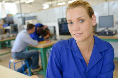 technical department: woman apprentice posing