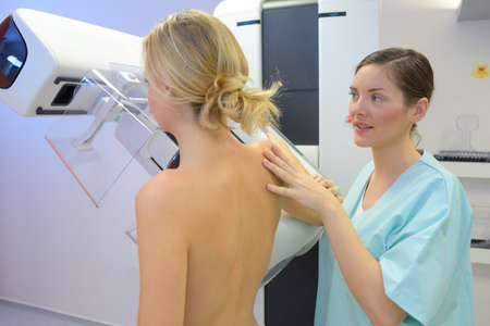 beautiful nude woman: Lady having mammogram