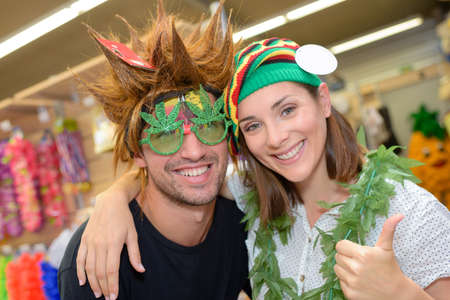 blind date: at the fancy dress shop Stock Photo