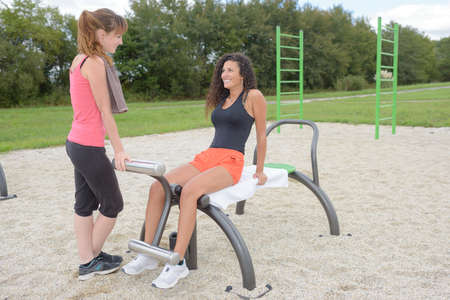 keeping fit: girls keeping fit Stock Photo