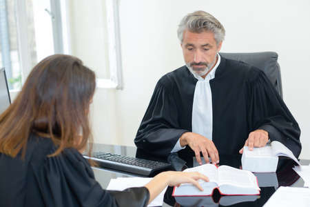qualified worker: Two legal workers referring to reference book