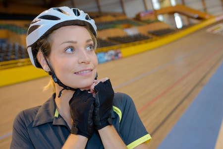 velodrome: female cyclist at velodrome