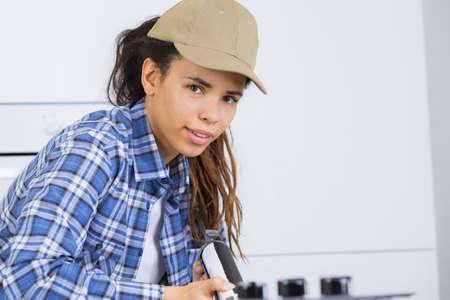 selfemployed: female skilled worker Stock Photo