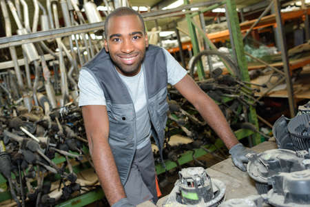assembler: the automotive mechanic assembler Stock Photo