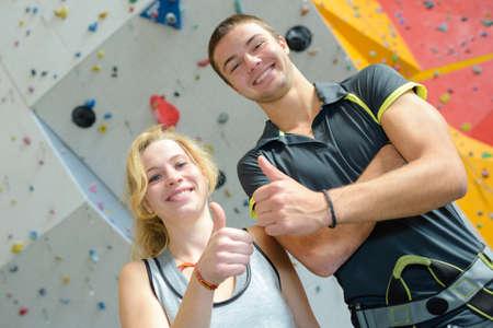 crack climb: happy with wall climbing Stock Photo