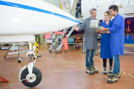 avionics: reading the aircrafts program Stock Photo