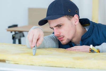 serviceman: serviceman at work with cutter