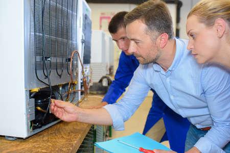 electromechanical: electrical appliance assembling Stock Photo