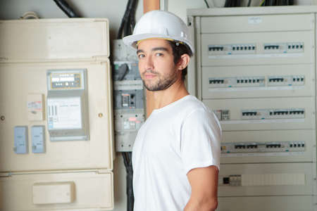 rearrange: telecommunication technician posing