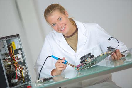 computer hardware assembler Stock Photo