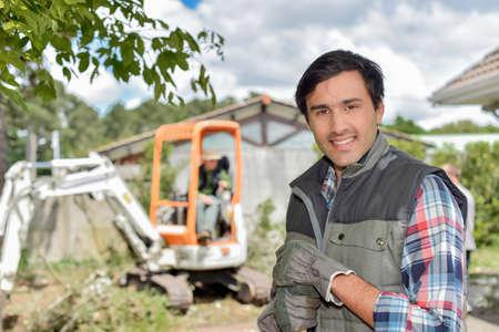 plowing: gardener on site Stock Photo