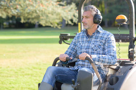 mowing a big area Stock Photo