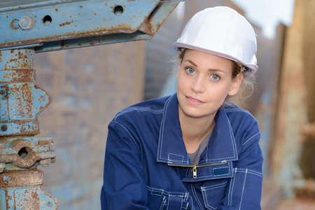 tired woman engineer Stock Photo