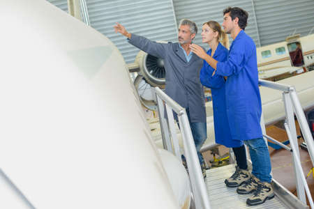 aerospace: aerospace technician at work Stock Photo