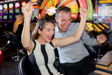 Couple celebrating casino victory