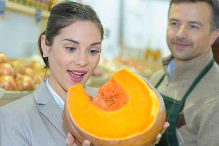 the big pumpkin slice Stock Photo