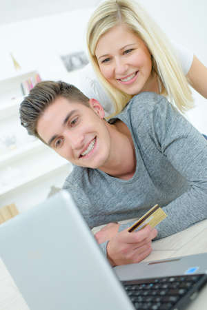 online shoppers happy with the purchase Stock Photo