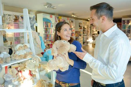 toy bear: Couple choosing cuddly toy