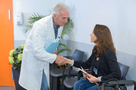 acknowledge: greeting the patient Stock Photo