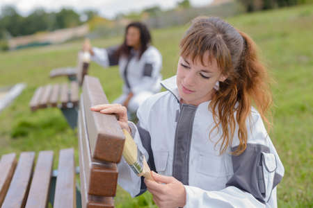 Women painting park benches Stock Photo