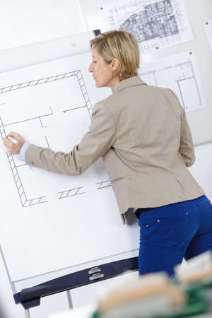 drawing board: business woman thinking and drawing plans on board at work