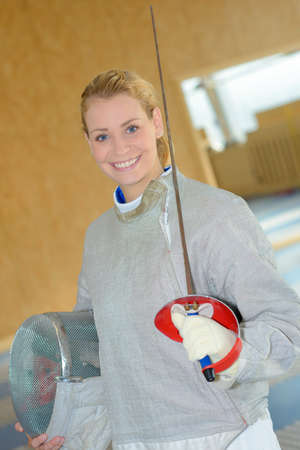 first time in fencing Stock Photo
