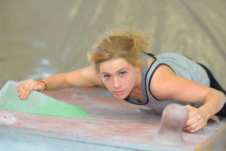 Downward view of woman climbing