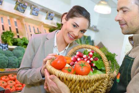 winner of the vegetable raffle Stock Photo