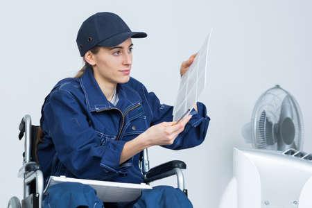 paraplegia: Disabled worker Stock Photo