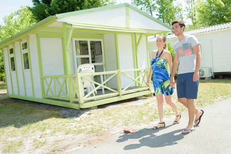 vacationer: stroll in the campsite Stock Photo