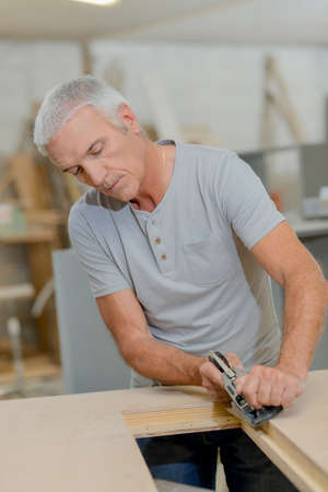 working: Working joiner Stock Photo