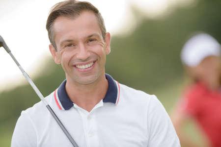endorsement: golfer smiling for endorsement Stock Photo