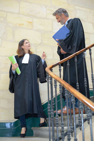 solicitors: judges meeting on the stairwell