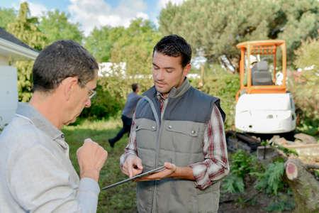 foreman: Foreman explaining something Stock Photo