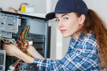 Woman Electronic Assembler Stock Photo, Picture And Royalty Free ...
