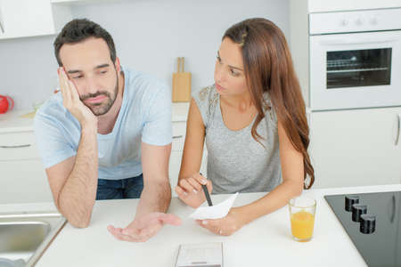 argumento: disputa doméstica entre la pareja Foto de archivo