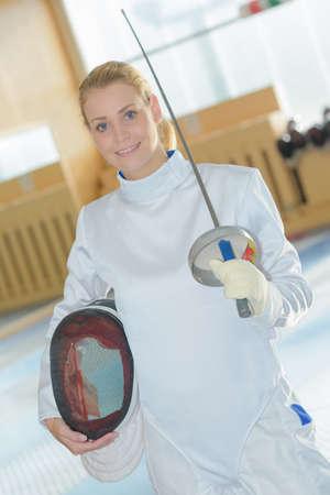 esgrimista: Portrait of female fencer Foto de archivo