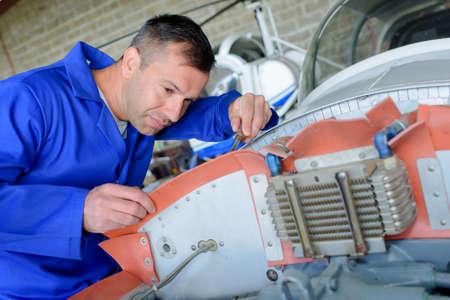 checking aircrafts engine