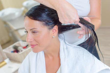 hair conditioner: Lady having haircut