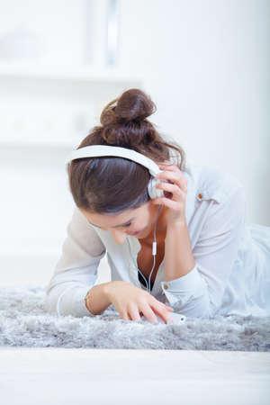 girl listening using a headset Stock Photo