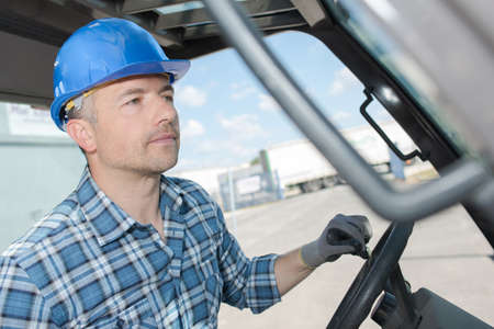 Closeup of forklift driver