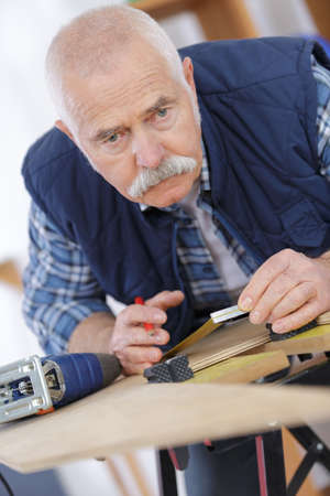 timbering: carpenter working Stock Photo