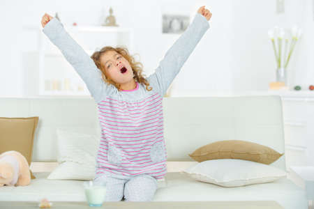 sluggish: Little girl yawning